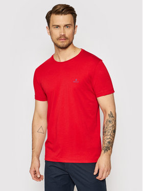 Gant Gant T-Shirt Contrast Logo 2053004 Czerwony Regular Fit