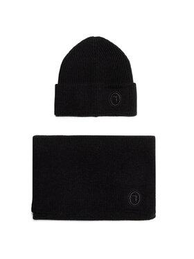 Trussardi Jeans Trussardi Jeans Комплект шал и шапка Kit Beanie Scarf 57Y00004 Черен