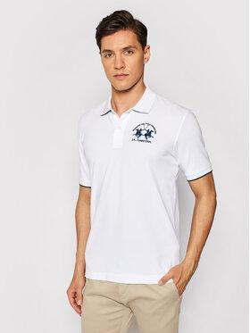 La Martina La Martina Тениска с яка и копчета CCMP01 PK001 Бял Regular Fit