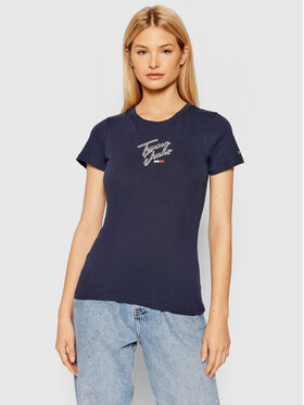 Tommy Jeans Tommy Jeans T-Shirt Script DW0DW09558 Σκούρο μπλε Slim Fit