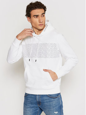 Calvin Klein Calvin Klein Majica dugih rukava Transparent Logo Hoody K10K107145 Bijela Regular Fit