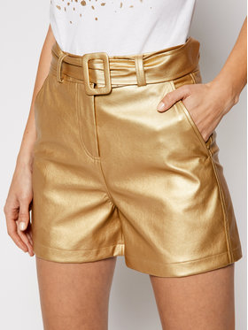 Liu Jo Liu Jo Kožené šortky WA1401 E0392 Zlatá Slim Fit