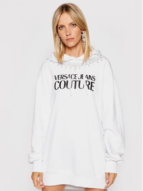 Versace Jeans Couture Versace Jeans Couture Rochie tricotată Crystal 71HAIG03 Alb Boxy Fit