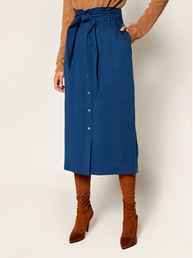 Calvin Klein Calvin Klein Midi sukně Tencel Paper Bag K20K202103 Tmavomodrá Regular Fit