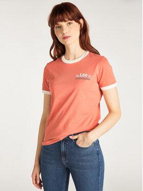 Lee Lee T-Shirt Ringer L40PEPNI Oranžová Slim Fit