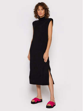 NA-KD NA-KD Плетена рокля Padded High Neck 1100-004257-0002-003 Черен Regular Fit