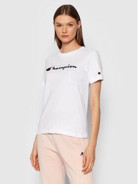 Champion Champion T-Shirt Script Logo 114472 Biały Regular Fit