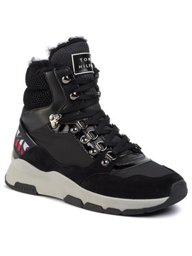 TOMMY HILFIGER TOMMY HILFIGER Сникърси Patent Fashion Sporty Boot FW0FW04593 Черен