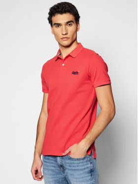 Superdry Superdry Polo Classic Pique M1110004A Czerwony Regular Fit