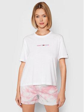 Tommy Jeans Tommy Jeans T-Shirt Crop Multi Linear DW0DW10437 Biały Regular Fit