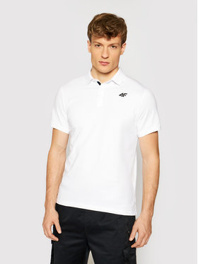4F 4F Тениска с яка и копчета TSM007 Бял Regular Fit