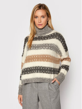 Peserico Peserico Pull à col roulé S99111F03 Beige Boxy Fit