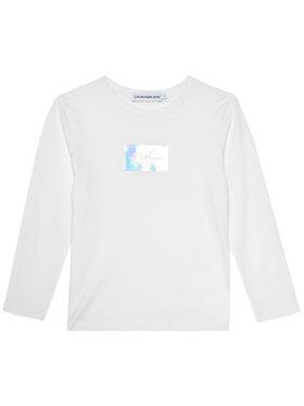 Calvin Klein Jeans Calvin Klein Jeans Bluse Monogram Badge IG0IG00663 Weiß Slim Fit