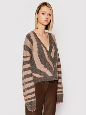 Remain Remain Cardigan Cami Cardigan Knit Zebra Print RM331 Marron Regular Fit
