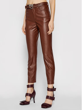 Pinko Pinko Pantaloni din imitație de piele Susan 15 1G16WU 7105 Maro Skinny Fit