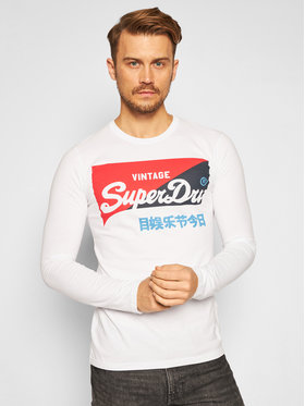 Superdry Superdry Тениска с дълъг ръкав Vl O Primary Ls Top M6010155A Бял Regular Fit