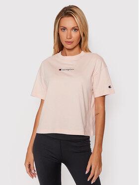 Champion Champion T-Shirt Script Logo 114474 Różowy Regular Fit