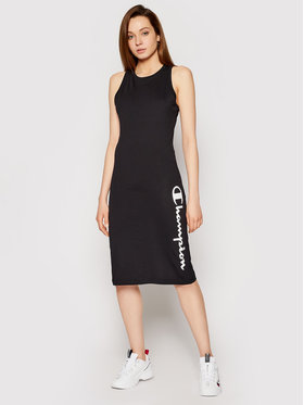 Champion Champion Φόρεμα καθημερινό Vertical Script Logo Print 112610 Μαύρο Regular Fit