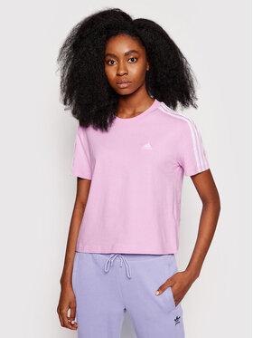 adidas adidas Marškinėliai Essentials 3-Stripes GL0789 Rožinė Loose Fit