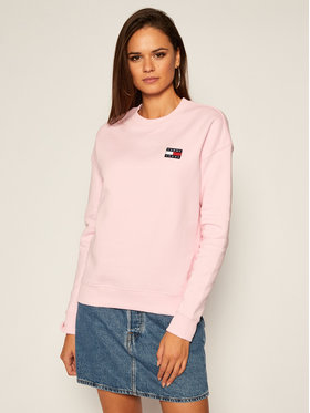Tommy Jeans Tommy Jeans Pulóver Tommy Badge Crew DW0DW07786 Rózsaszín Regular Fit