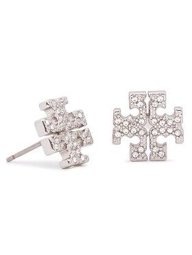 Tory Burch Tory Burch Naušnice Crystal Logo Stud Earring 53423 Srebrna