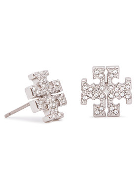 Tory Burch Tory Burch Обици Crystal Logo Stud Earring 53423 Сребрист