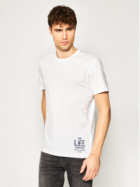 Lee Lee Тишърт Branded Tee L63KFQLJ Бял Regular Fit
