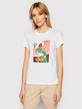 Marella Marella T-Shirt Italia 39710312200 Biały Regular Fit