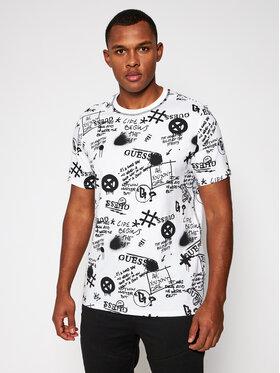 Guess Guess T-Shirt Graffiti M0BI92 I3Z11 Biały Regular Fit