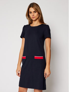 TOMMY HILFIGER TOMMY HILFIGER Úpletové šaty Shift Punto WW0WW29333 Tmavomodrá Regular Fit