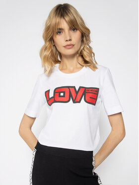 LOVE MOSCHINO LOVE MOSCHINO Тишърт W4F152AM 3876 Бял Regular Fit
