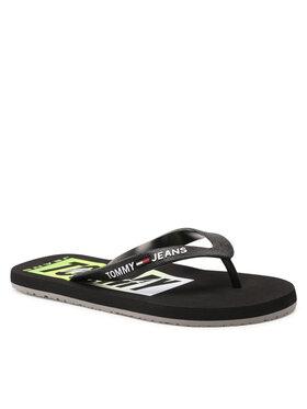 Tommy Jeans Tommy Jeans Джапанки Print Beach Sandal EM0EM00687 Черен
