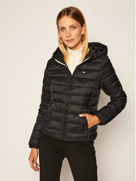 Tommy Jeans Tommy Jeans Pūkinė striukė Tjw Hooded Quilted DW0DW08672 Juoda Regular Fit