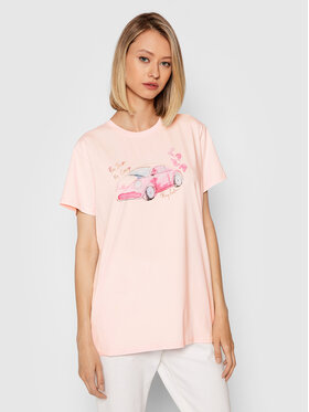 PLNY LALA PLNY LALA T-Shirt You Drive Me Crazy Classic PL-KO-CL-00274 Rosa Regular Fit