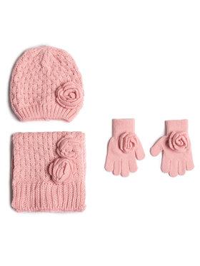 Mayoral Mayoral Zestaw czapka, szalik i rękawiczki 10897 Różowy