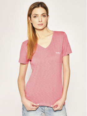 Superdry Superdry T-Shirt Essential Vee Tee W6010136A Różowy Regular Fit