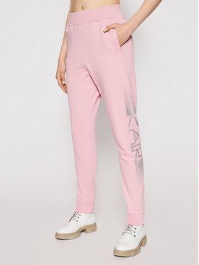 KARL LAGERFELD KARL LAGERFELD Teplákové kalhoty Rhinestone Logo 211W1063 Růžová Regular Fit