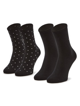 Tommy Hilfiger Tommy Hilfiger 2 pár hosszú szárú női zokni 100001493 Fekete