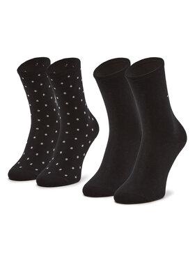 Tommy Hilfiger Tommy Hilfiger Sada 2 párů dámských vysokých ponožek 100001493 Černá