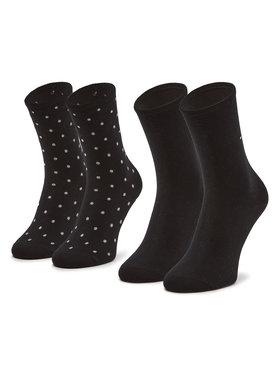 Tommy Hilfiger Tommy Hilfiger Súprava 2 párov vysokých dámskych ponožiek 100001493 Čierna