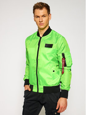 Alpha Industries Alpha Industries Kurtka bomber Ma-1 Neon 126112 Zielony Slim Fit