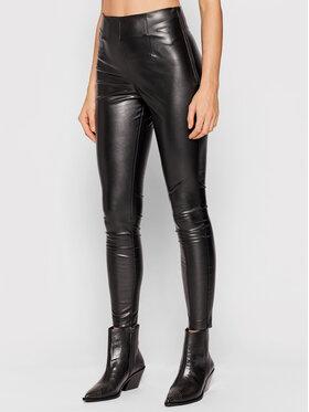 TWINSET TWINSET Kalhoty z imitace kůže 212TP2095 Černá Regular Fit