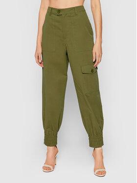 NA-KD NA-KD Kalhoty z materiálu 1018-007272-0031-581 Zelená Relaxed Fit