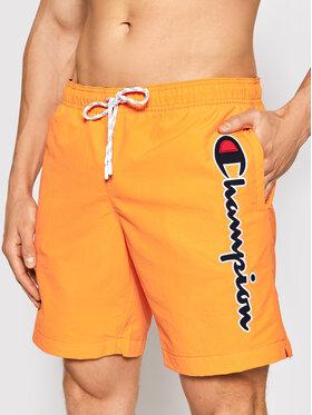 Champion Champion Short de bain Satin Script Logo 214428 Orange Regular Fit