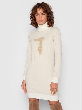 Trussardi Trussardi Sukienka dzianinowa Logo 56D00549 Beżowy Regular Fit