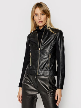 Trussardi Trussardi Veste en cuir 56S00638 Noir Regular Fit