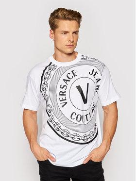 Versace Jeans Couture Versace Jeans Couture Tricou Centered Vemb 71GAHT19 Alb Regular Fit