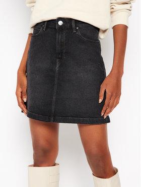 Lee Lee Džínsová sukňa A Line Zip L38FCPTY Čierna Regular Fit