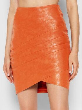 Guess Guess Jupe en simili cuir Rosalba W1BD15 WE5V0 Orange Slim Fit