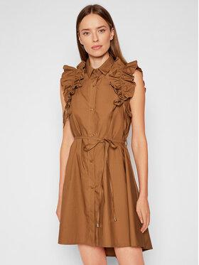 Rinascimento Rinascimento Košilové šaty CFC0017910002 Hnědá Regular Fit